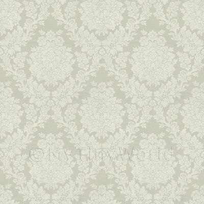 Dolls House Miniature Pale Grey Floral Damask Wallpaper