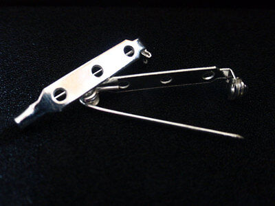 20 x Brooch Bar Backs with Safety Catch Silver Colour 25mm x 5mm, Jewellery