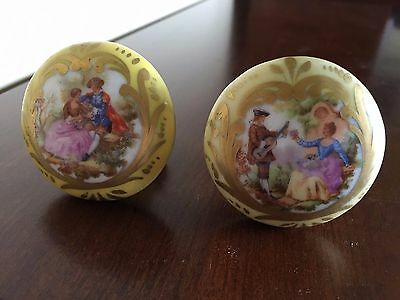Vintage Signed Fragonard French Porcelain Limoges Courting Couple Door Knobs