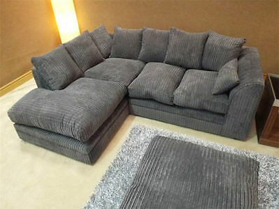 Dylan sofa jumbo cord dark grey 3+2 or corner left hand or right hand