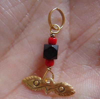 Baby Child Ojito Santa Lucia 14k Gold with Black Jet Ball & Coral Azabache