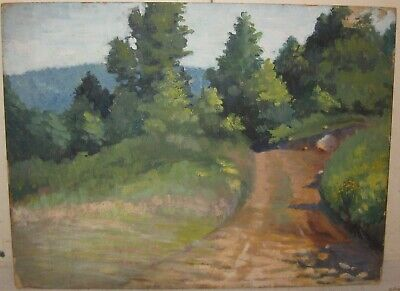 Vintage 'Path in the Woods' Pre War IMPRESSIONIST OIL Painting signed M.W. ELLS