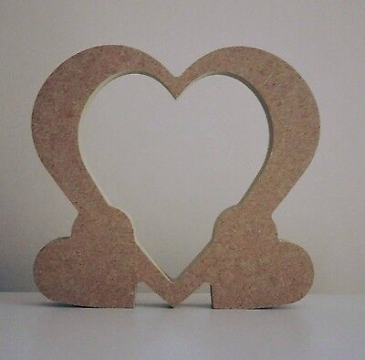 Mdf Craft Shape. Wooden Hollow Heart With 2 Smaller Hearts.  15Cm High