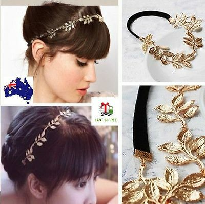 Gold Metal Chain Leaf Flower Head band Tiara For Wedding Bridal Jewelry Hair