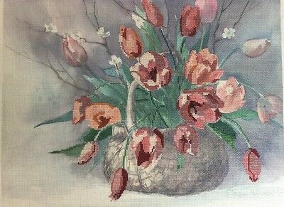 Dimensions Floral Cross Stitch Completed Finished Unframed 3614 Spring Tulips
