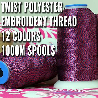 Twist Style Polyester Embroidery Thread 12 Colors 40Wt 1000M Spools- Threadart