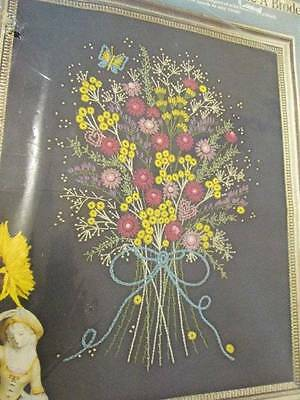 Paragon Breathless Flower Bouquet Crewel Embroidery Kit 16x20 Inches