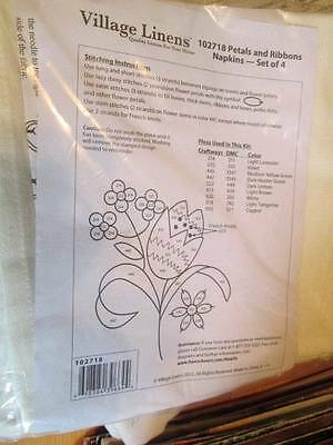 Village Linens Petals & Ribbons Napkins To Embroider- Set of 4