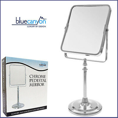 Quality Shaving Pedestal Mirror Square New Standing Bathroom Mirror - BlueCanyon