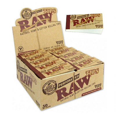FULL BOX 50 x Booklets Raw Natural Rolling Perforated Wide Tips Smoking Tobacco