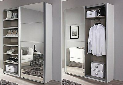 schuhschrank garderobenschrank flurschrank 2 trg b 136 spiegel weiss hochglanz eur 379 05. Black Bedroom Furniture Sets. Home Design Ideas