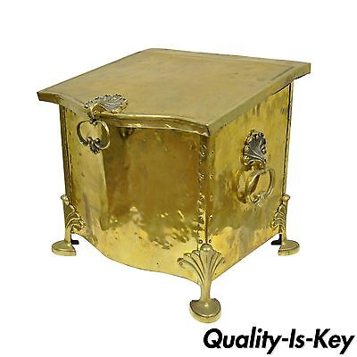 Antique English Victorian Brass & Wood Footed Fireplace Scuttle Coal Box Bucket