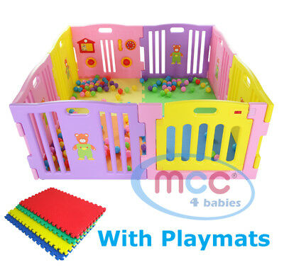 Plastic Baby Playpen PlayPen Pink Large Foldable Indoor & Outdoor MCC