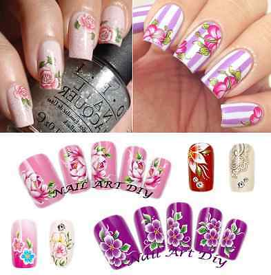 Nail Art Water Transfer Stickers-Decals-Adesivi Decorazione Unghie-Fiori-Flowers