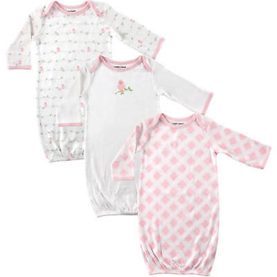 Luvable Friends 3 Pack Rib Knit Cotton Baby Girls Infant Gowns 0-6 Months Bird