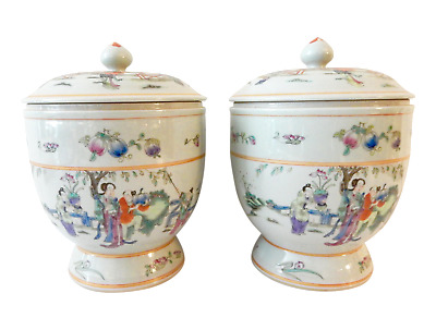 """Superb Chinese Famille Rose Porcelain Tea Canisters, S/2 11.5"""" h"""