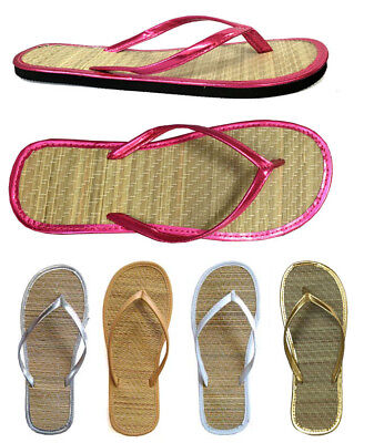 WHOLESALE LOT 48 Pairs New Ladies Bamboo Flip Flop Sandal Beach Walking-1212 mix