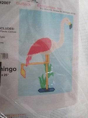 Flamingo Plastic Canvas Kit -17x25 Inches -Outback Enterprises #2007
