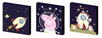 Peppa And George Pig Space Canvas Art Blocks/ Wall Art Plaques/pictures
