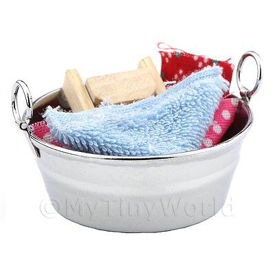 Dolls House Miniature Manual Clothes Washing Set