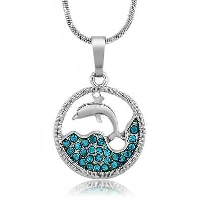 """Stunning Dolphin and Sea in a Circle with Blue Crystals Silver Pendant 18"""" Chain"""