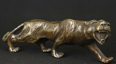 Chinese Brass Copper Carved animal Tiger Statue