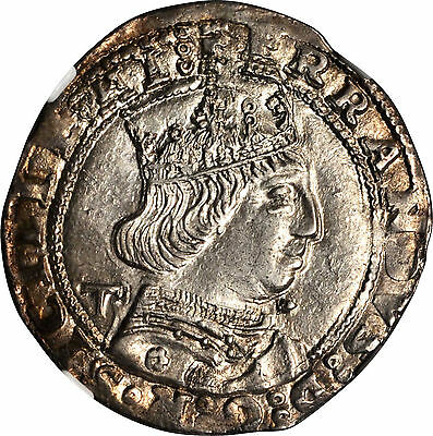 (1458-1494) Italy Naples Silver 1 Coronato Ngc Au58 Hand Hammered