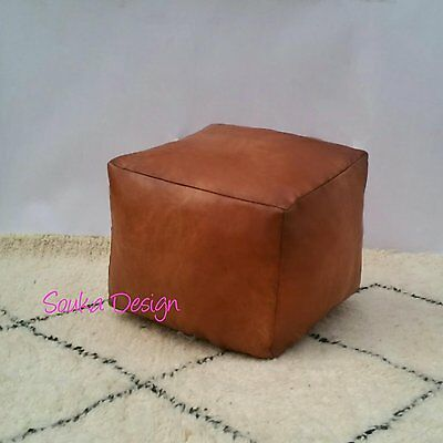 Moroccan Genuine Leather Square Pouf,stunning Tan Pouf ,pouffe,ottoman,footstool
