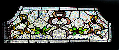 Outstanding Antique American Stained Glass Transom Window 36 X 15 ~ Salvage ~