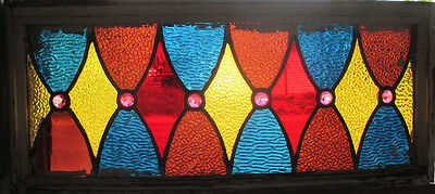 Antique American Stained Glass Transom Window 26 X 11 ~ Architectural Salvage ~