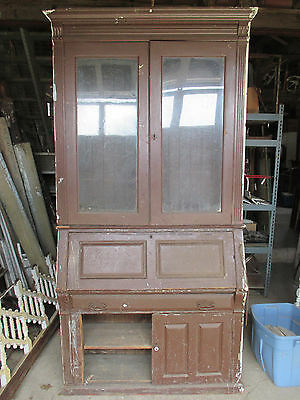 ~ Antique Walnut Built In Secretary ~ 51 X 98 ~ Architectural Salvage ~