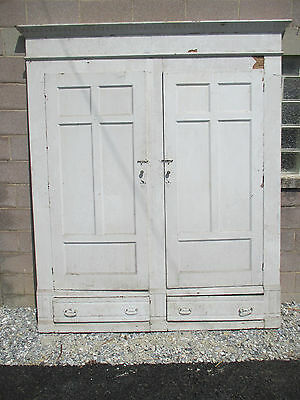 ~ Antique Oak Closet Front ~ Linen Cabinet 82 X 95~ Architectural Salvage~
