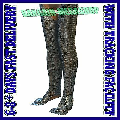 Chain Mail Legging Flat Riveted Solid Ring Medieval Chainmail Chausses Medium