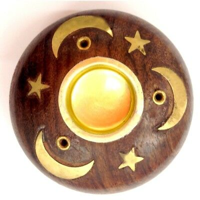 Wooden Incense Cone And Stick Burner Brass Inlay Hand Made - Star & Moon