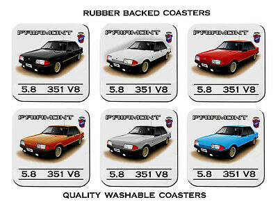 82' 83'  Ford  Xe  Esp Fairmont Ghia     Set Of 6 Quality Rubber Drink  Coasters