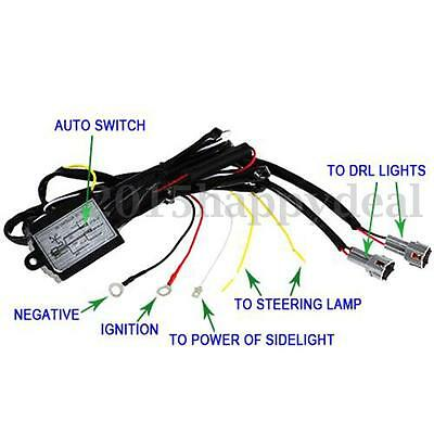 12V DRL Daytime Running Light Lamp Relay Harness Auto Car Control On/Off Switch