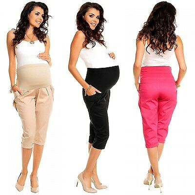 Zeta Ville - Women's Maternity Capri Pants Pockets - Stretchy Waistband - 117c