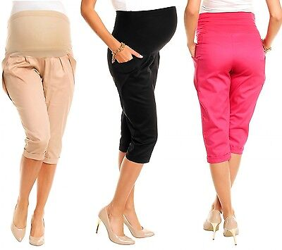 Happy Mama. Women's Maternity Cropped Trousers Elastic Belly Band Pants. 117p