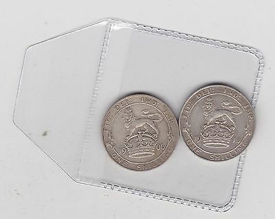 1906 & 1910 Edward Vii Shillings In A Used Good Fine Condition