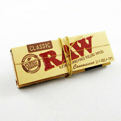 Raw Classic 1 1/4 Connoisseur Natural Rolling Paper + Tips  Smoking Tobacco