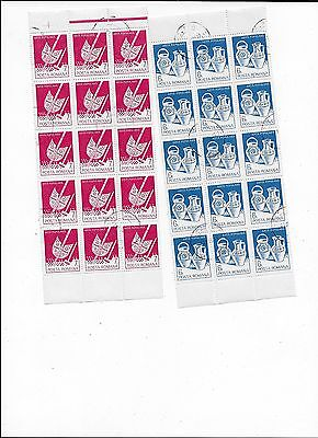 Nice Collection of 8 Part sheets of Romania CTO Stamps (lot 16)