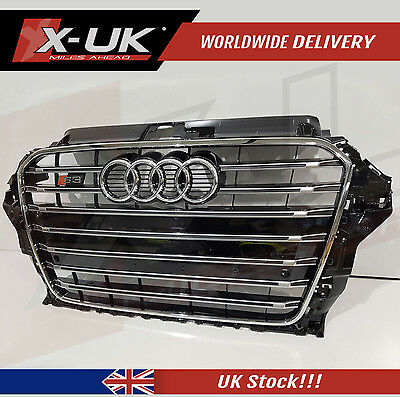 Audi A3 8V To S3 Front Grill 2012-2015 Gloss Black With Chrome Frame