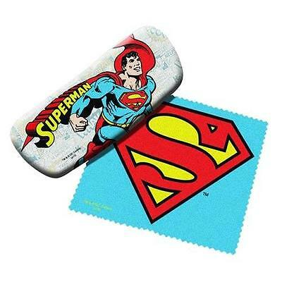 DC Comics Licensed SUPERMAN Sun Eye Glasses HARD CASE w/ LOGO Cleaning Cloth