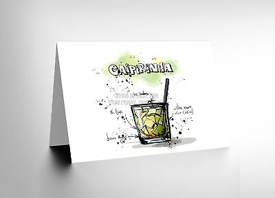 6d2b1153523ce New Caipirinha Cocktail Drink Blank Greetings Birthday Card Art Cl277