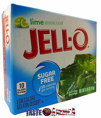 Jell-o Lime Sugar Free Gelatin Dessert Mix Jello 8.5g Jelly