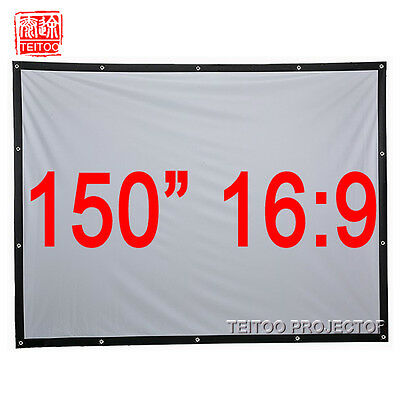 150 Inch 16:9 Outdoor Portable Fabric Projection Screens to HD Movie Projector