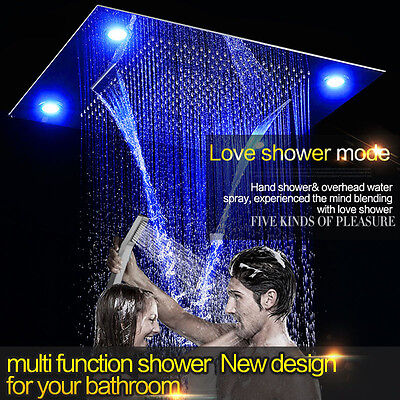 "Luxury 31"" Large Rain LED Shower Head Double Waterfall Shower by Fontana Showers"
