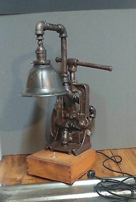 Industrial Black Iron Pipe Steampunk Lamp * Antique Armstrong Pipe Vice 1880's