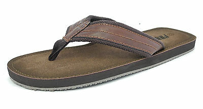 Mens Leather Look Toe Post Flip Flops Beach Summer Shoes Sandals Brown 6-12