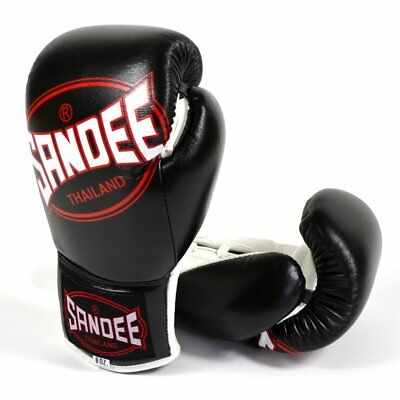 Sandee Cool-Tec Lace Up Muay Thai Boxing Fight Gloves Pro - Black